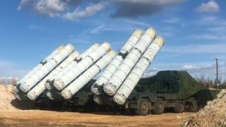 Russian defence ministry handout showing S-300 surface-to-air missile system taking part in Vostok 2018 (East 2018) military exercise in Russia (5 September 2018)