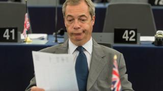 Nigel Farage in his seat at the European Parliament