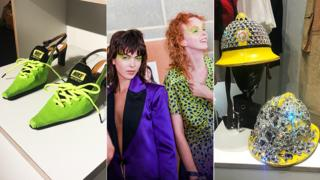 Kitten heel trainers, models backstage, firefighter helmet covered in gems