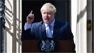 Boris Johnson in Downing Street on 24 July 2019