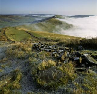 A view of mist in the valley at Mam Tor