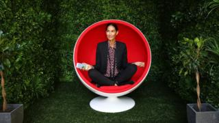 Lindy Klim poses inside a meditation pod in Martin Place during the Virgin Mobile and Smiling Mind partnership launch on October 25, 2016 in Sydney, Australia. The partnership aims to encourage Australians to make mindfulness part of their daily mobile phone behaviour.