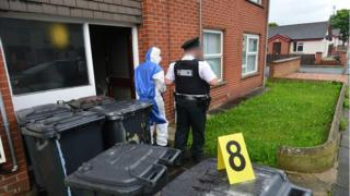 Police at the scene of the assault in Newtownards