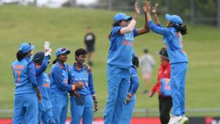 Jhulan Goswami and Jemimah Rodrigues of India celebrate during game one of the One Day International Series between New Zealand White Ferns and India at McLean Park on January 24, 2019 in Napier, New Zealand.