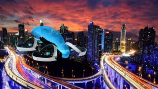 A computer graphic of the Cartivator project's flying car
