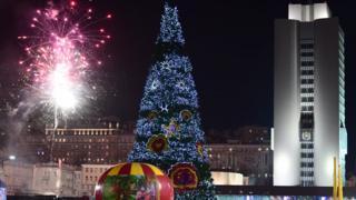 Rusya'nın en doğusundaki Vladivostok'ta yeni yılın gelişi böyle kutlandı