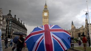 Union flag umbrella at Parliament