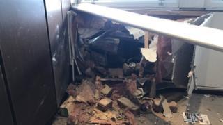 The car went through the wall into the reception area of the Bailey Bridge Premier Inn hotel