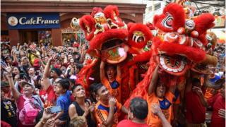 春節期間,馬尼亞中國城區舉行了慶祝活動。