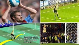 A picture sequence of a throw in resulting in an own goal