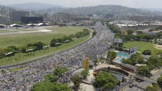 Protesto em Caracas, a capital da Venezuela