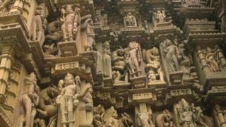 Pictures of the temples of Khajuraho which feature a wide variety of erotic sculpture