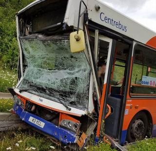 Crashed bus in Luton