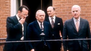 Harold Wilson (centre) with Joe Haines (left) in 1974