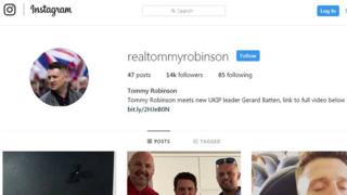 Tommy Robinson's Instagram profile