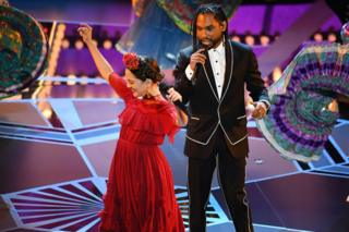 Singers Miguel and Natalia Lafourcade perform onstage