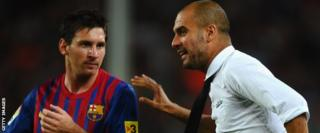 Lionel Messi and Pep Guardiola