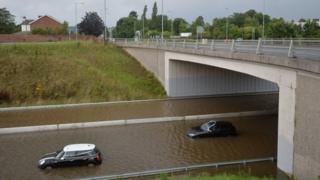 A car stranded in flood water