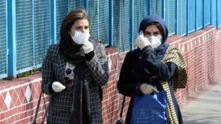 Iranian women in masks