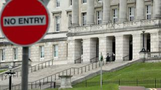 A 'No entry' sign outside Stormont's Parliament Buildings