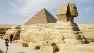 Le Sphinx sur le plateau de Gizeh (illustration).