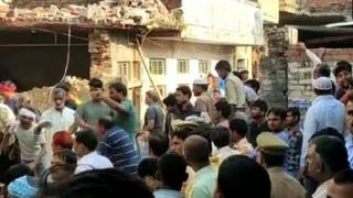 Collapsed building due to a cooking gas cylinder blast