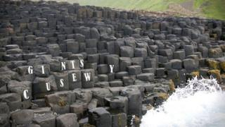 """Undated handout photo issued by NHS Blood and Transplant of the Giant""""s Causeway missing the letters A, B and O, as the Missing Type campaign aims to encourage people to become blood donors"""