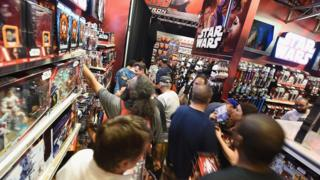 NEW YORK, NY - SEPTEMBER 04: Guests attend as Toys'R'Us Celebrates Force Friday With Out-Of-This-Galaxy Midnight Events on September 4, 2015 in New York City