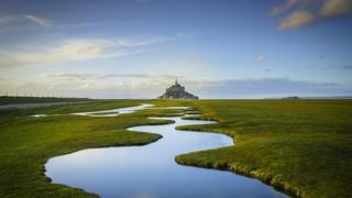 photograph of medieval island commune of Mont Saint-Michel