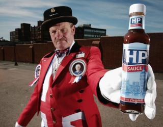Man holding HP bottle