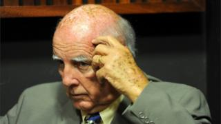 In this 9 February 2015 photo, former grand slam tennis doubles champion Bob Hewitt is shown in court in Johannesburg, South Africa