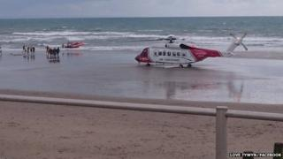 A rescue helicopter was called to the incident at Tywyn beach