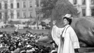 Emmeline Pankhurst at a meeting in London's Trafalgar Square, 1908