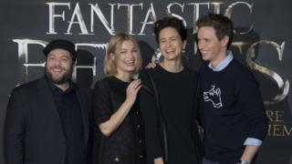 Actors Dan Fogler, Alison Sudol, Katherine Waterston and Eddie Redmayne