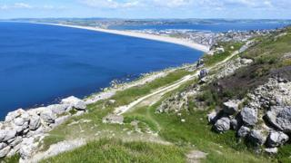 Chesil Beach on the Jurassic Coast pictured from Portland