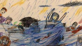 Child's picture of flooding