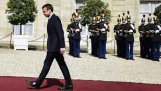 French newly elected President Emmanuel Macron arrives at the Elysee presidential Palace for the handover and inauguration ceremonies on May 14, 2017 in Paris.