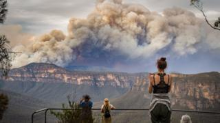 Massive clouds of smoke above a bushfire in the Blue Mountains region, just west of Sydney