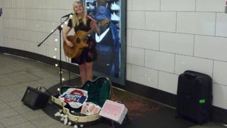 Busker at Oxford Circus