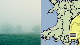 A foggy field and a weather map of Wales