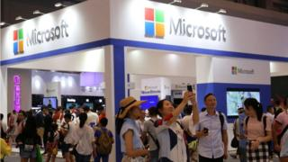 A Microsoft display at a technology show in China