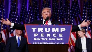Republican president-elect Donald Trump delivers his acceptance speech during his election night rally in New York on 9 November 2016,