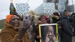 Supporters of Laurent Gbagbo seen at the ICC.