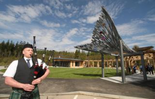 Piper at the new Falls of Shin Visitor Centre