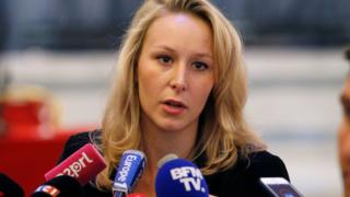 French National Front MP Marion Maréchal-Le Pen speaks to the press. 29 April 2017