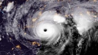 颶風哈維登陸瞬間的衛星影像(25/8/2017)