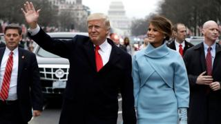 Trump waves during his inauguration