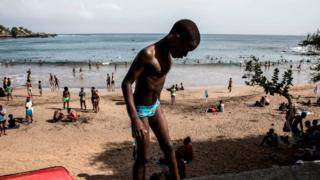 Boy at a popular beach in Cape Verde on Sunday 6 October 2019