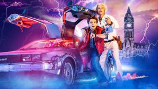 Olly Dobson and Roger Bart in Back To The Future: The Musical