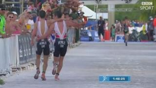 They stagger to the finish line as Schoeman takes victory